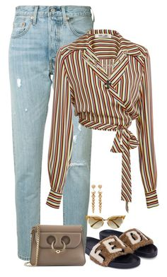 A fashion look from February 2018 featuring long sleeve blouse, straight leg jeans and fendi shoes. Browse and shop related looks. Fancy Dress Outfits, Edgy Outfits, Mom Outfits, New Fashion Clothes, Look Fashion, Fashion Outfits, Fashion Trends, Polyvore Outfits, Summer Outfits For Teens