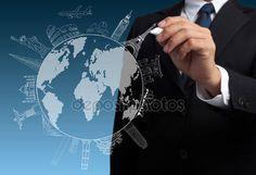 Descargar - Empresario dibujo el concepto de viaja por el mundo — Imagen de stock #13578346