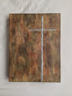 "Textured 9"" X 12"" deep canvas acrylic silver cross painting. Sold on Etsy."