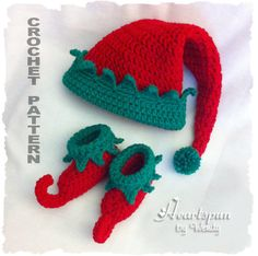 CROCHET PATTERN for Christmas Elf Baby Hat and Shoe Set  in 3 sizes, PDF Format, Instant Download