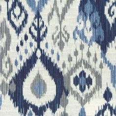 Navy Ikat with light blue, gray, cream by Stout Swelter  Swel-1 Fabric via Fabric Living. Find us Online at http://www.fabricliving.com