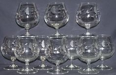 Princess House Heritage Brandy Snifters 8 Oz Barware Lot 10 Etched Crystal #404 #PrincessHouse