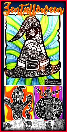 ideas art dessin automne for 2019 Halloween Art Projects, Theme Halloween, Fall Art Projects, Halloween Painting, Halloween Makeup, Zentangle, Art Plastique Halloween, Pumpkin Art, Collaborative Art