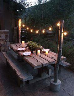 48 The Best Outdoor Deck Lighting Ideas - Outdoor Lighting - Ideas of Outdoor Li. 48 The Best Outdoor Deck Lighting Ideas – Outdoor Lighting – Ideas of Outdoor Li… – Patio L Outdoor Deck Lighting, Outdoor Dining, Outdoor Tables, Dining Area, Patio Dining, Rustic Outdoor, Outdoor Spaces, Outdoor Fire, Dining Decor