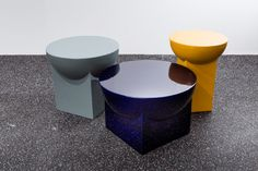On the occasion of the Maison&Objet 2018 design fair, The Full Room and Huskdesignblog have collaborated to highlight products to be presented on the fair on the Primitive Luxury theme | Mila tables | Sebastian Herkner design | Pulpo Products design | ceramic tables | blue coffee table | yellow coffee table | ceramic blue coffee table | geometric tables | mirrored surface table | 2018 design trends | Maison&Objet 2018 | design fair | new 2018 collection | 2018 colors | terrazzo floor