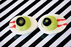 Eyes of Newt - Add green food coloring to your favorite deviled-egg recipe. Decorate with an olive slice and red food-decorating gel.