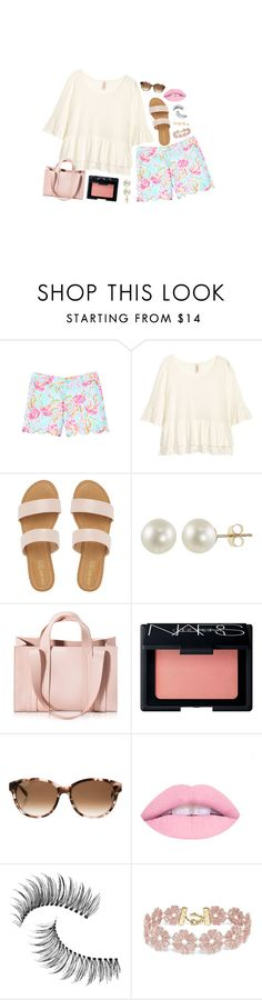 """""""7.5.16"""" by b-pearl ❤ liked on Polyvore featuring Lilly Pulitzer, PearLustre by Imperial, Corto Moltedo, NARS Cosmetics, Kate Spade, Trish McEvoy, BaubleBar and LULUS"""
