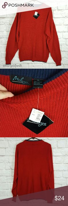 """VINTAGE MENS NWT 90s Melange Red Blue Sweater xL VINTAGE MENS NWT 90s Melange Red Blue Sweater xL in excellent used condition. New with Ames tag. Price removed. 100% Acrylic.   Waist from Seam to Seam: 22"""" Length from Top: 29""""  Please let me know if you have any questions. Happy Poshing! Vintage  Sweaters Crewneck"""