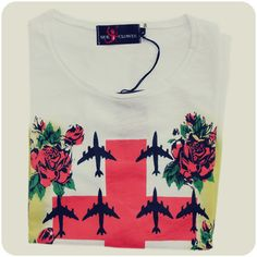 Cross Planes and Roses tee