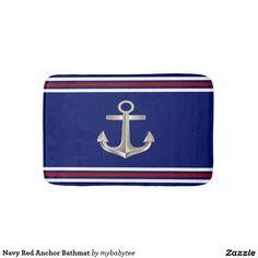 Navy Red Anchor Bathmat