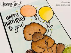 Happy Birthday card created using Honey Bee Stamps Penny the Platypus stamp set & coordinating dies. colored with copics & background done with distress oxides inks & clarity stencil brushes.