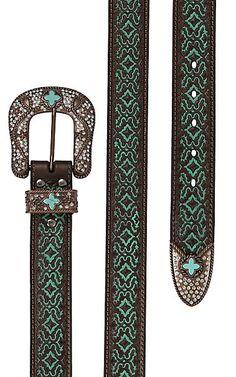Nocona Women's Brown with Turquoise Embossment 3 Piece Bronze Buckle Set Belt | Cavender's