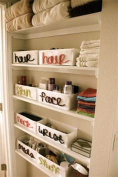 I do love being organized! Buy cheap bins from the dollar store and customize them. Label them in a creative way and display them in your linen closet. Keep these items stored away but in perfect organization. It will help with getting ready day to day and knowing where your most used items are at all times.