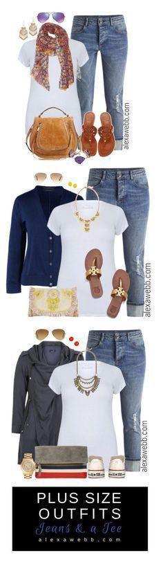 Plus Size Outfit Ideas - Plus Size Jeans and a Tee - Plus Size Fashion for Women - alexawebb.com #alexawebb #plus #size