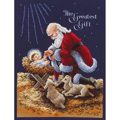 Kneeling Santa Counted Cross Stitch Kit