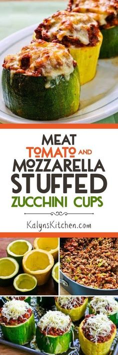 Meat, Tomato, and Mozzarella Stuffed Zucchini Cups [KalynsKitchen.com] Stuffed Zuchinni Recipes, Gluten Free Zucchini Recipes, Zuchinni And Tomato Recipes, Ground Beef Stuffed Zucchini, Large Zucchini Recipes, Stuffed Zucchini Boats, Garden Tomato Recipes, Zucchini On The Grill, Stuffed Zuchini