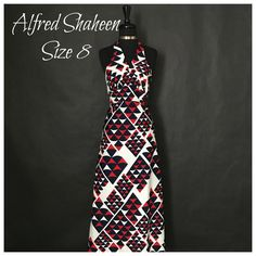 This is a beautiful Alfred Shaeen brand summer dress just in time for the warm weather! (Can be worn with a thin bolero to provide modesty for the back.) The dress is long in length, has a halter top tie around teh neck, has a v-neck line, an empire waist and is made from 100% polyester.    The dress is a size 8 with the following measurements:    - Length: 54 inches    - Bust: 32 inches    - Waist: 29 inches | Shop this product here: http://spreesy.com/UyleesBoutique/912 | Shop all of…