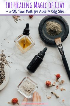 Learn all about bentonite, moroccan red clay, french green clay, and kaolin clay. Add charcoal, oils, and essential oil to help combat oily skin and pimples. A diy face mask for acne is included. #essentialoils #claymask #charcoalmask #facemask #diybeauty #cleanbeauty #crueltyfreebeauty #greenbeauty #diyfacemaskforacne #acne #oilyskin #skincareroutine #naturalbeauty