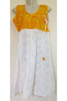 #CottonKurti - Yellow White Floral Printed