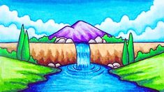 How to draw easy and simple scenery for beginners with oil pastels. How to draw easy scenery. Oil Pastel Paintings, Oil Pastel Drawings, Oil Pastel Art, Oil Pastels, Scenery Drawing For Kids, Easy Drawings For Kids, Painting For Kids, Waterfall Drawing, Drawing Sunset