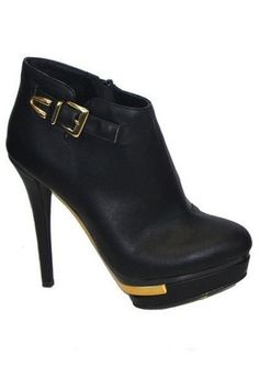 Steely Gold Accent Booties - Black
