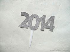 2014 New Years Eve Party Cake Topper Silver Glitter Paper