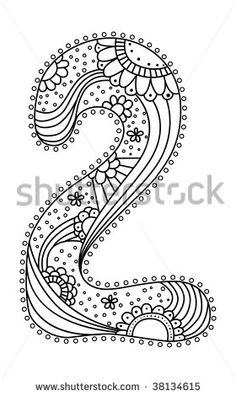 cute doodle numbers in  floral style - stock vector