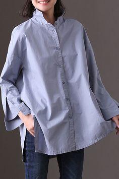 boutique blue pure cotton dress oversize casual dress New side open asymmetric pockets cotton dress