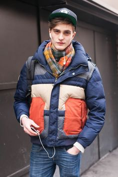 Robert Laby Model French General Idea Head Levi's Zara Street Style: Color-blocked Puffer Jacket