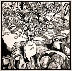 Pear Halves with Nuts and Blossoms Ed. 6 of 10 by Andrew Crooks Lino Art, Woodcut Art, Linocut Prints, Art Prints, Block Prints, Object Drawing, Wood Engraving, Gravure, Art Techniques