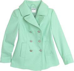 mint green pea coat