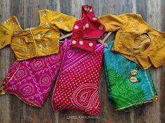 Stylish Blouse Design, Fancy Blouse Designs, Saree Blouse Designs, Indian Designer Outfits, Indian Outfits, Indigo Saree, Bandhini Saree, Bandhani Dress, Saree Trends