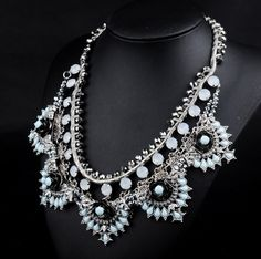 WHOLESALE FASHION JEWELRY ACCESSORIES NEW TOP DESIGN LADY GORGEOUS MULTI CRYSTAL BIB STATEMENT WOMEN NECKLACE COLLAR