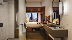 How tiny can a hotel room get? Micro-hotels bring innovative design to small spaces. Hotel Branding, Interior Design Magazine, Small Rooms, Small Spaces, Soho, Casa Hotel, Hotel Room Design, New York Hotels, Nyc Hotels