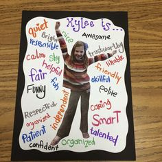 Character Traits and Making Your Students Feel Special. This would be a great le… Character Traits and Making Your Students Feel Special. This would be a great lesson on adjectives too! Beginning Of The School Year, First Day Of School, Middle School, High School, Teaching First Grade, Teaching Reading, Classroom Activities, Classroom Organization, Adjectives Activities