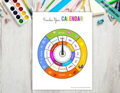 Wheel Montessori Calendar, Learning Season Month Days of the week, Homeschool Activity, Educational Material, Digital Telling Time Activities, Seasons Months, Bar Wrappers, Tent Cards, Preschool Printables, Blue And Silver, Binder, Montessori, Party Invitations
