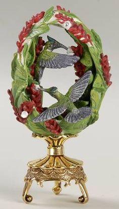 "FABERGÉ eggs__ ""Red Ginger Garden "". Franklin Mint Floral Hummingbird Egg, House Of Faberge. Jeweled Beauties of the Garden Egg by Franklin Mint . replacements.com |"