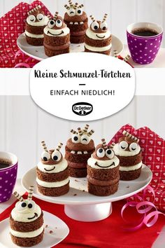 Kleine Schmunzel-Törtchen Delicious cream tart with sugar eyes Related Post Chocolate Brownie Pie How to make a highlight of simple pudding No-bake carrot cake bars for breakfast or dessert. Strawberry cake with sour cream vanilla cream Cake Recipes, Snack Recipes, Dessert Recipes, Snacks, Food Cakes, Fall Desserts, Christmas Desserts, Birthday Brunch, Birthday Coffee
