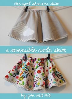 Toddler Reversible Circle Skirt Tutorial - so easy, you make your own pattern!