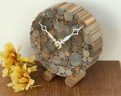 Small Round Desk Clock Rustic Chic Home Decor Minimalist