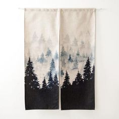 Linen Japanese Style Door Curtain - Winter Forest - Soul Monkey - privacy and organization - unique room dividers - japanese linen door curtains - modern minimalistic decor - living room ideas - curtain panels - DIY closet