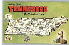 Vintage Postcard / Greetings From Tennessee / TN Map / 1966