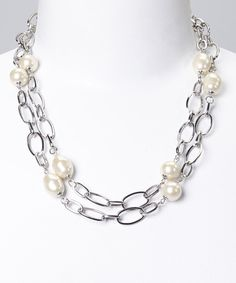 This Pearl & Silver Chain Link Necklace by Fantasy World Jewelry is perfect! #zulilyfinds