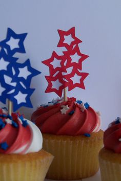 Star Cupcake Toppers Multicolored by BabyShowersBoutique on Etsy, $6.00