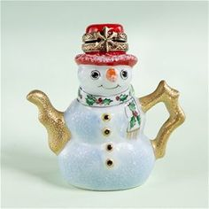 Limoges Christmas Snowman teapot box or tree ornament, with holly and snowflake decoration on the scarf and hat, porcelain, France