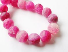 Pink Agate Round Beads  Frosted Agate  Dream Dragon by BijiBijoux