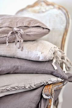 Grey linen cushions ❥Repinned by www.huttonandhutton.co.uk