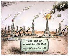 Fueling ISIS, Adam Zyglis,The Buffalo News,isis, paris, france, attacks, terrorism, syria, iraq, saudi arabia, funding, fueling, oil, money, support, sunni islam, extremism, fundamentalism, religion, middle east