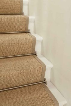 Sisal Stair Runner W Brushed Nickel Rods Painted Stairs Sisal Stair Runner, Staircase Runner, Stair Runners, Carpet Runner On Stairs, Stair Runner Rods, Staircase Spindles, Hallway Runner, Railings, House Stairs
