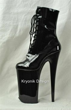 "Pleaser Beyond-1020 black patent 10"" heel stiletto platform ankle boots 5-9"